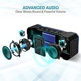 Poweradd MusicFly Indoor/Outdoor Portable Wireless Bluetooth Speakers, 36W Loud Volume, Dynamic Stereo, IPX7 Waterproof, Sandproof, Shockproof, Built in Mic, 24 Hours Playtime, Blue