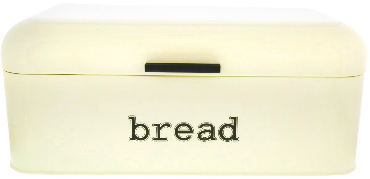 Bread Box for Kitchen Counter - Stainless Steel Bread Bin, Dry Food Storage Container for Loaves, Pastries, Toast and More - Retro Vintage Design, Cream, 16.75 x 9 x 6.5 Inches Juvale COMINHKPR105164