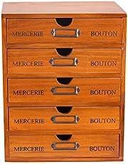 $34 » 5-Drawer Desk Organizer - Vintage Wooden Storage Box w/ 5 Wide Storage Drawers - Rustic Shelf Drawer - Home Office Desk Organizers and Accessories - Multilevel Wood Table Top Desk Drawer Organizer