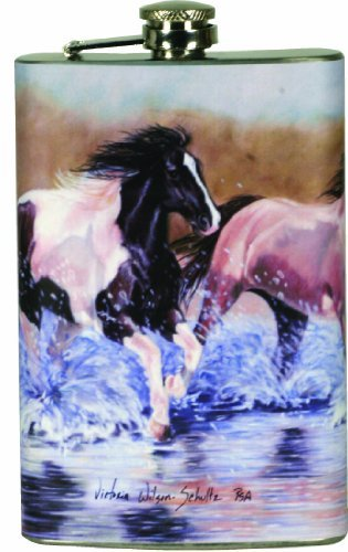 【在庫処分大特価!!】 川のエッジRunning HorsesデザインステンレススチールフラスコwithステンレススチールロードFunnel B01N1FGTWT by川のエッジ製品 B01N1FGTWT, ルチルクォーツ専門店:23655531 --- mswebserv.com