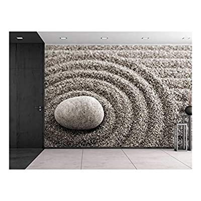 Rock Over a Rippled Sand Effect - Wall Mural, Removable Sticker, Home Decor - 100x144 inches