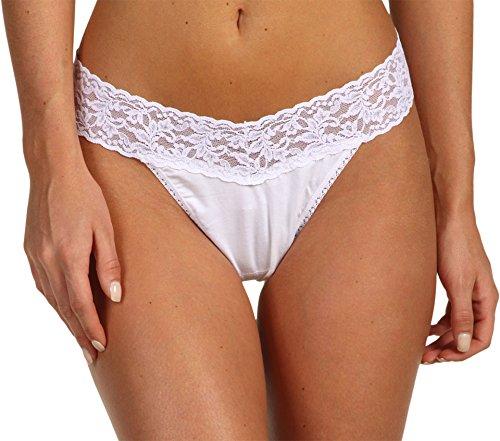 Hanky Panky Women's Cotton Original Rise Thong Panty, White, One Size