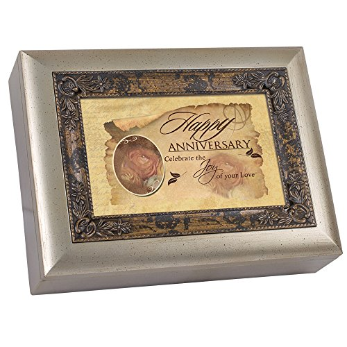 (Cottage Garden Happy Anniversary Amber with Inlay Digital Music Box/Jewelry Box Plays Still The)
