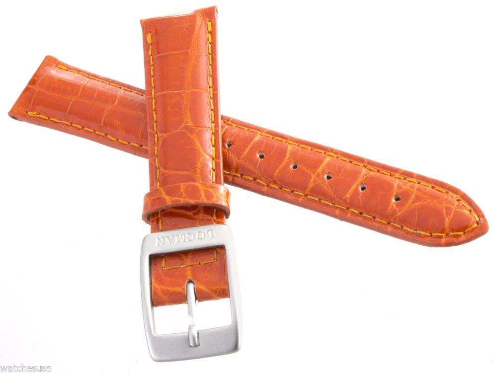 Locman Women's 18mm Orange Alligator Leather Silver Buckle Watch Band Strap