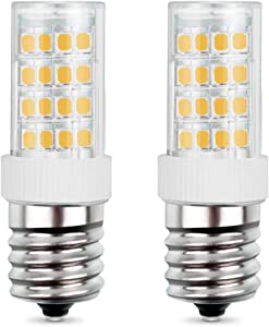 E17 LED Bulb for Microwave Oven Bulb, Over Stove Lights, Range Hood, 5W(40W Halogen/Incandescent Equivalent), Warm White 3000K, AC110-130V, Non-Dimmable (2 Pack)