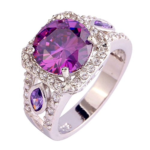 2 Tone Amethyst Ring (Psiroy Women's 925 Sterling Silver 4.75ct Amethyst Filled)