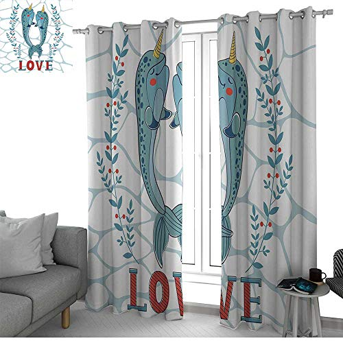 (NUOMANAN Bathroom Curtains Narwhal,A Couple of Narwhal Whales in Love Valentines Day Image with Abstract Background,Multicolor,Room Darkening Waterproof Curtains for Bathroom 100