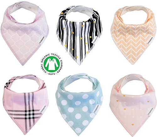 Baby Bandana Drool Bibs Organic 6 Pack for Girls with Snaps, Absorbent Soft Cotton for Teething Drooling Feeding Cute Baby Shower Newborn Registry Gift Set Burp Cloth (Princess Pink Purple Gold Black)