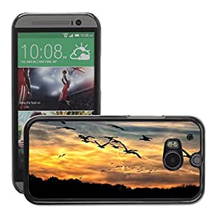 Hot Style Cell Phone PC Hard Case Cover // M00114881 Geese Sunset Bright Swarm Wild Geese // HTC One M8