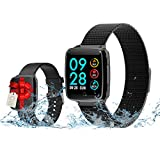 Smart Watch, IP67 Waterproof, Sleep Monitor for Kids Women Men, Fitness Tracker with Heart Rate Monitor, Calorie Counter, Bluetooth Smartwatch with Caller reminder for Samsung, Android, IOS, Huawei
