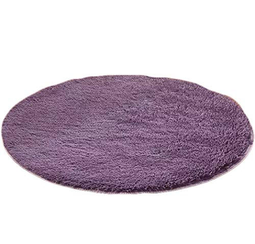 Faux Fur Rug Shaggy Area Rugs Pads, Play Nursery Mat for Kids Yoga Mat for Women Living Room Area Carpet Bedroom 4 ft (Round) Purple