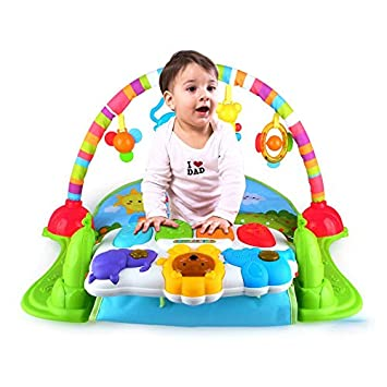NBD Corp Jungle Baby Piano Gym Playmat with Keyboard Sound Effects, Soft Sitting Mat and Skyrise Kick, Pull and Push Toys for Babies
