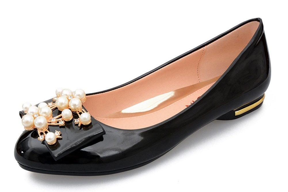 Easemax Women's Sweet Rhinestone Round Toe Beaded Slip On LowTop Wedding Low Heel Flats Shoes Black 4 B(M) US
