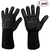 "BBQ Gloves - Protect Your Hands With Extra Long Heat Resistant Oven Safety Mitts - Awesome for Cooking, Frying, Baking, Camping & Grilling,13"" Long(1 pair)"