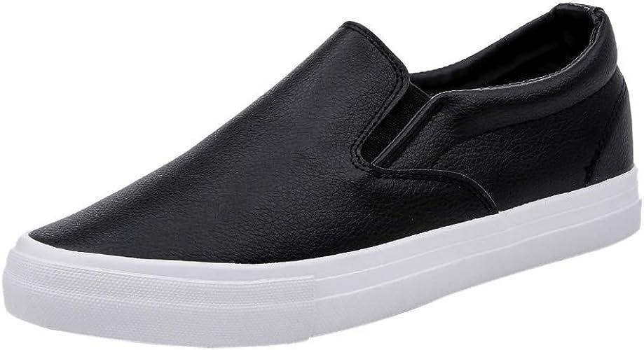 LRWEY White Men's Slip on Sneakers