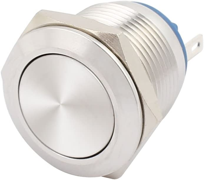 sourcingmap AC250V 3A 19mm 0.75 Thread Dia Flat Cap Stainless Steel Metal Momentary Push Button Switch 1NO SPST UL Recognized