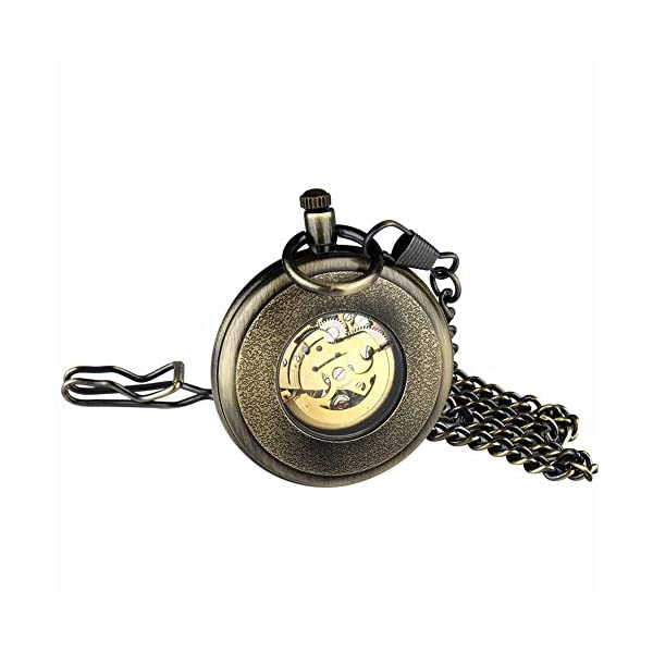 Retro Pocket Watch for Mens Wooden Open face Steampunk Skeleton Mechanical with Chain + Box 6