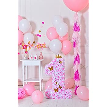 OFILA 1st Girls Birthday Decoration Backdrop 3x5ft Baby Girl First Photography Background Balloons Cake