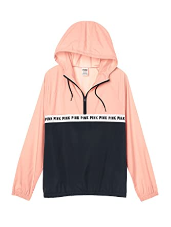 b6bb083087db6 Image Unavailable. Image not available for. Color  Victoria s secret Pink  Anorak Windbreaker Quarter Zip Jacket ...