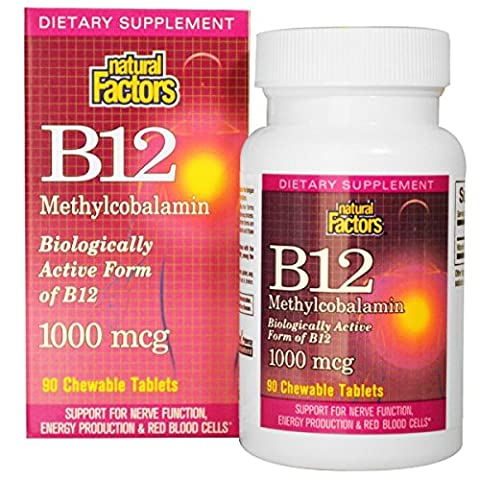 Natural Factors - Vitamin B12 Methylcobalamin 1000mcg, Support for Nerve Function, Energy Production & Red Blood Cells, 90 Chewable - 90 Chewable Tabs