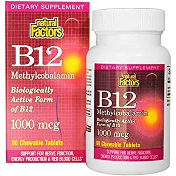 Natural Factors - Vitamin B12 Methylcobalamin 1000mcg, Support for Nerve Function, Energy Production & Red Blood Cells, 90 Chewable Tablets