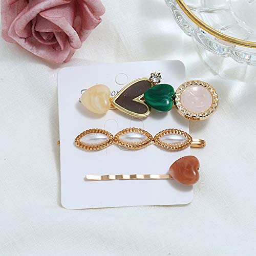 (2019 Hot Sell Sweet Bar General Education Hairpin Three-piece Set PEAR Acrylic Love Hairpin Hairpin Headdress,Light Yellow Gold Color)