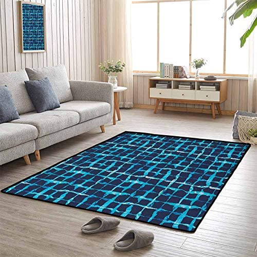 Indigo Large Area Rug for Living Room 6 x9 Gifts for Men Watercolor Print Geometric Squares Lines Aqua Pool Inspired Design Navy Blue White and Sky Blue