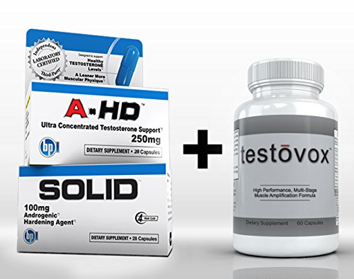 A-HD (28 capsules) et solides (28 capsules) plus Testovox (60 capsules) - HARDCORE, Muscle Building / Bodybuilding Stack. Professional Strength Supplément de Workout Combo