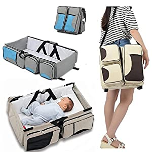 Baby Bassinet Portable Travel Crib Diaper Bag Changing Station with Mat Foldable Bed Multi-Functional Carry Cot for 0-12…