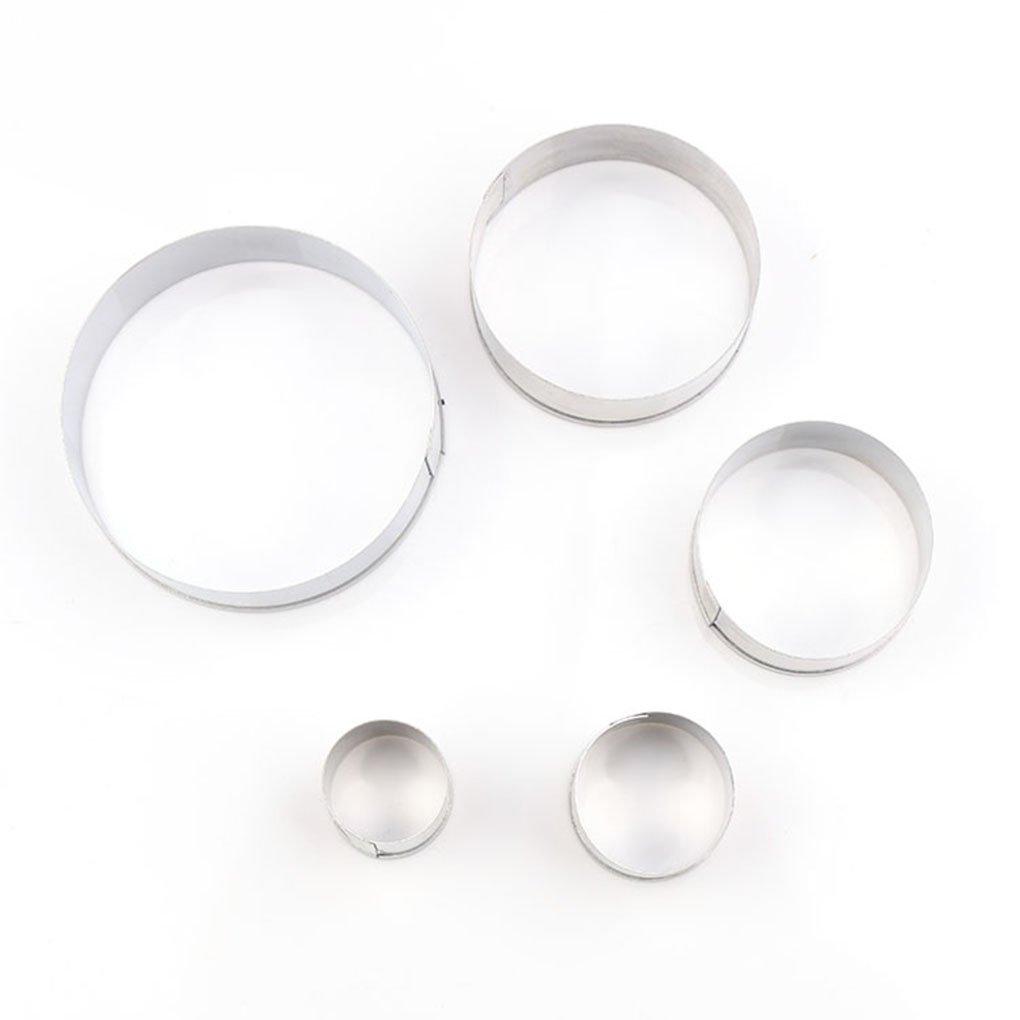 lidahaotin 5pcs ronde Cercle Sucre Candi coupe Die cuisson Fraises Cé ramique Mold Soft poterie moule Craft Set bricolage