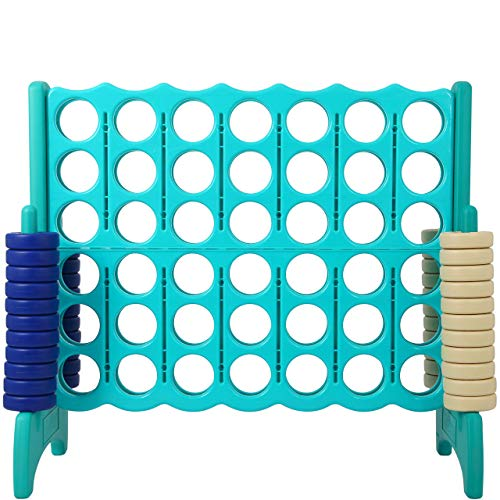 Giant 4 in A Row, 4 to Score - STANDARD Plastic Four Connect Game JUMBO 4 Foot Width Set with 44 Rings by Rally & Roar – Oversized Fun Family, Indoor/Outdoor Games