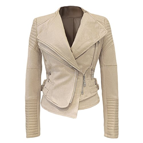 She'sModa Suede Padded Shoulder Leather Jacket For Women Slim Fit Winter Coat Moto Biker Leather Jackets XXL Khaki