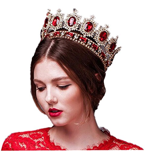 Wiipu Large Gemstone Crystal King Crown Wedding Prom Party Pageant,6.7