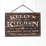 """Personalized Rustic Wood Wall Decor - Kitchen Sign Vintage Home Decor Customized Name and Established Year - Premium Wood Farmhouse Style Wooden Wall Art Country Pallet Plaque - 13x9"""" Brown"""