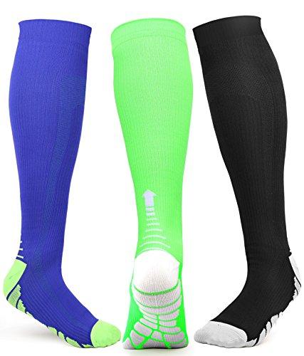 Compression Socks Men Women Knee High for Sports, Run, Athletic, Travel, Gym, Nurses, Pregnancy, 20-30 mmhgL/XL