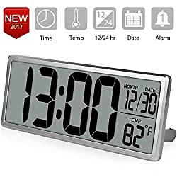 TXL 13.8 Inch Jumbo Digital Alarm Clock Extra Large LCD Screen Table Clock, Large Wall Clock Display Oversize Digits, Calendar/Indoor Temperature/Fold-Out Stand, Bedside Desk Clock with Snooze, Silver