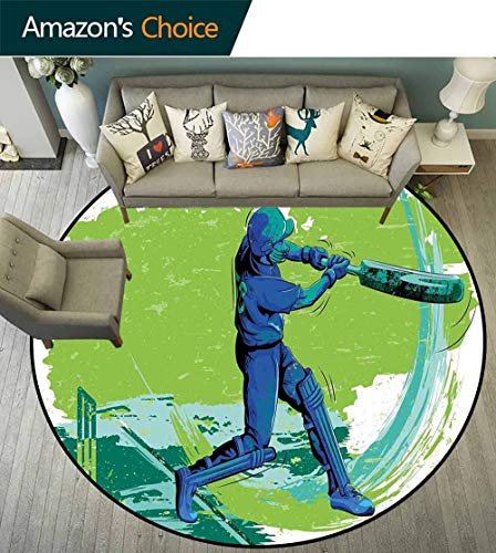 (Sports Round Rug with Fringe,Cricket Player Pitching Win Game Champion Team Paintbrush Effect for Living Room,Navy Blue Turquoise Lime Green,D-47)