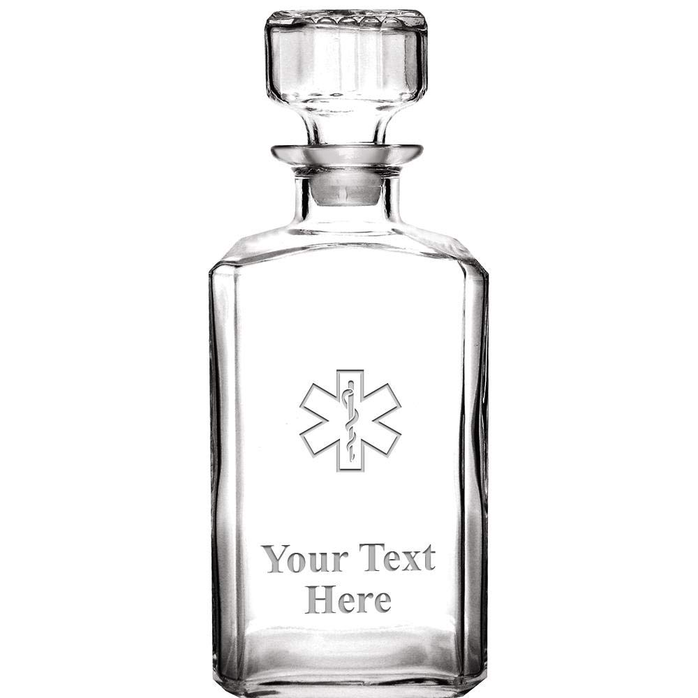 Personalized Whiskey Decanter, 33.75 oz Engraved EMS Star of Life Custom Glass Decanter Medical Gift With Your Own Text Included Prime