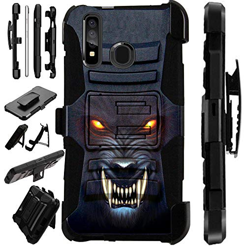 Screen Protector Car Charger - Compatible Samsung Galaxy A50 (2019) Case Armor Hybrid Phone Cover LuxGuard Holster (Angry Werewolf)