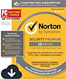 Norton Security Premium – 10 Devices – 1 Year Pre-Paid Subscription – with Auto-Renewal [PC/Mac/Mobile Download]: more info