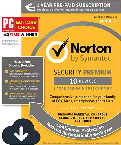 Norton Security Premium – 10 Devices – 1 Year Pre-Paid Subscription – Renews automatically for uninterrupted protection [PC/Mac/Mobile - Mac 8 For Windows Software