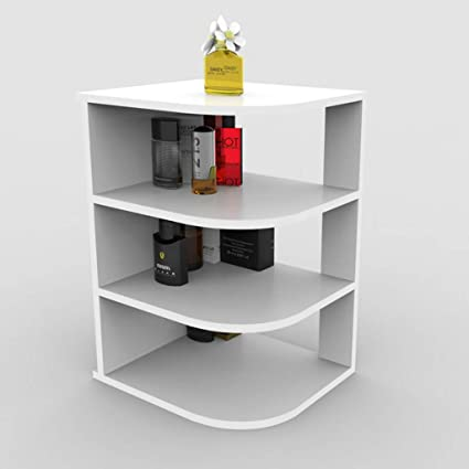 GJM Shop Bedside Cabinet Desktop Bookshelf Cosmetic Shelf Simple Table Color White