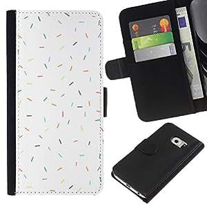 For Samsung Galaxy S6 EDGE Case , Pattern White Clean Minimalist - la tarjeta de Crédito Slots PU Funda de cuero Monedero caso cubierta de piel