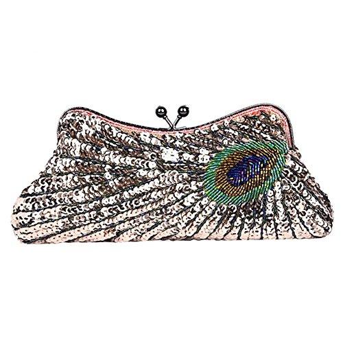 NVBAO Bolso de noche de las mujeres Peacock con cuentas de lentejuelas Cena boda bolso de embrague bolsos, 25 X 13 cm, champagne, one size champagne
