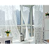 "Better&Better Lace Romatic Floral Curtains for Living Room Washable 59.05""× 70.87"" (White)"