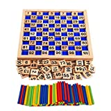 Montessori Wooden Toy Mathematical Hundred Block Counting Board 1-100 Consecutive Number Math Plate Board for Kids Preschool Education Learning Game