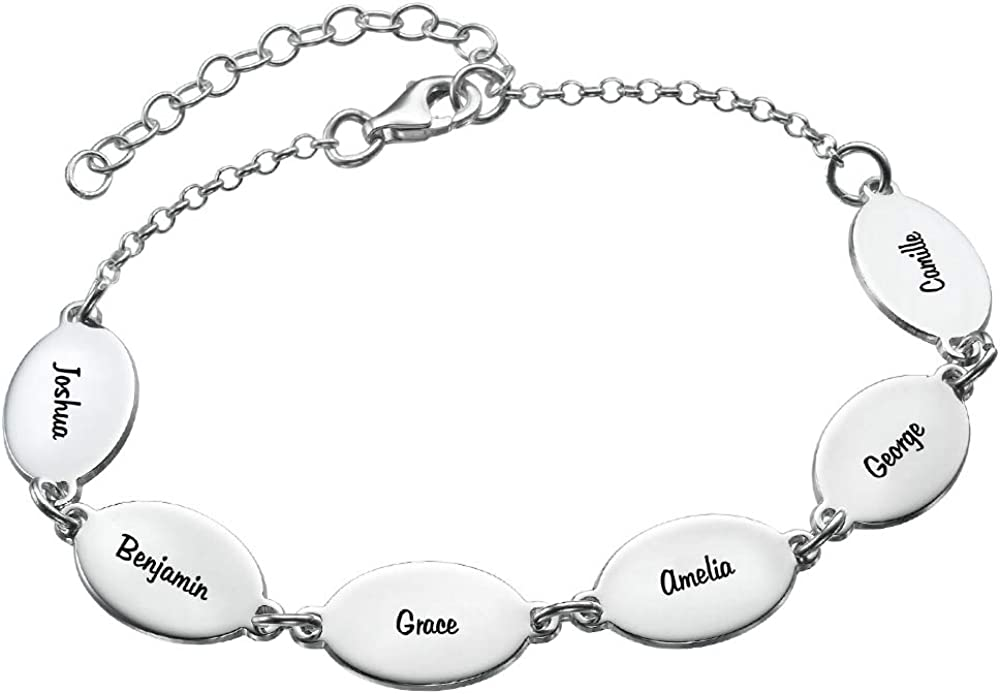 MyNameNecklace Personalized Oval Mom Bracelet with Names-Custom Multiple Charm Jewelry- Christmas Gift for Mom Wife