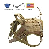 EJG Tactical Dog Harness Vest, with Velcro Area, No Pulling Design, Comfy Mesh Padding, Service Dog, Military Training, Hunting, for Medium & Large Dogs(Tan-L)