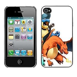 GIFT CHOICE / SmartPhone Carcasa Teléfono móvil Funda de protección Duro Caso Case para iPhone 4 / 4S /P0Kemon Charizo Characters/