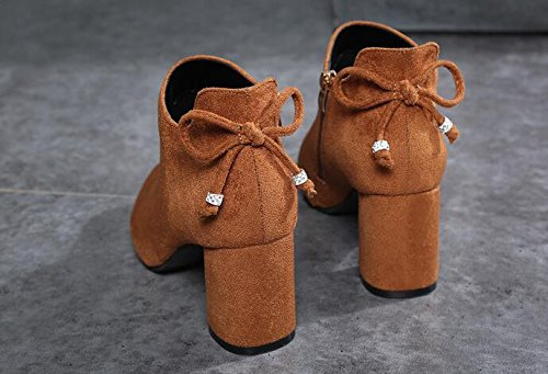 Thick The Boots Martin New Tip 35 The Cotton With Shoes Girl Boots Short Bare Plush High Colored Caramel And KHSKX Boots Heeled cABSwqRY55